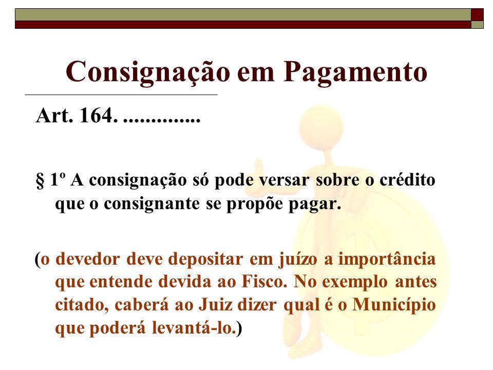 Consignação em Pagamento Art. 164............... § 1º A consignação só pode versar sobre o crédito que o consignante se propõe pagar. (o devedor deve