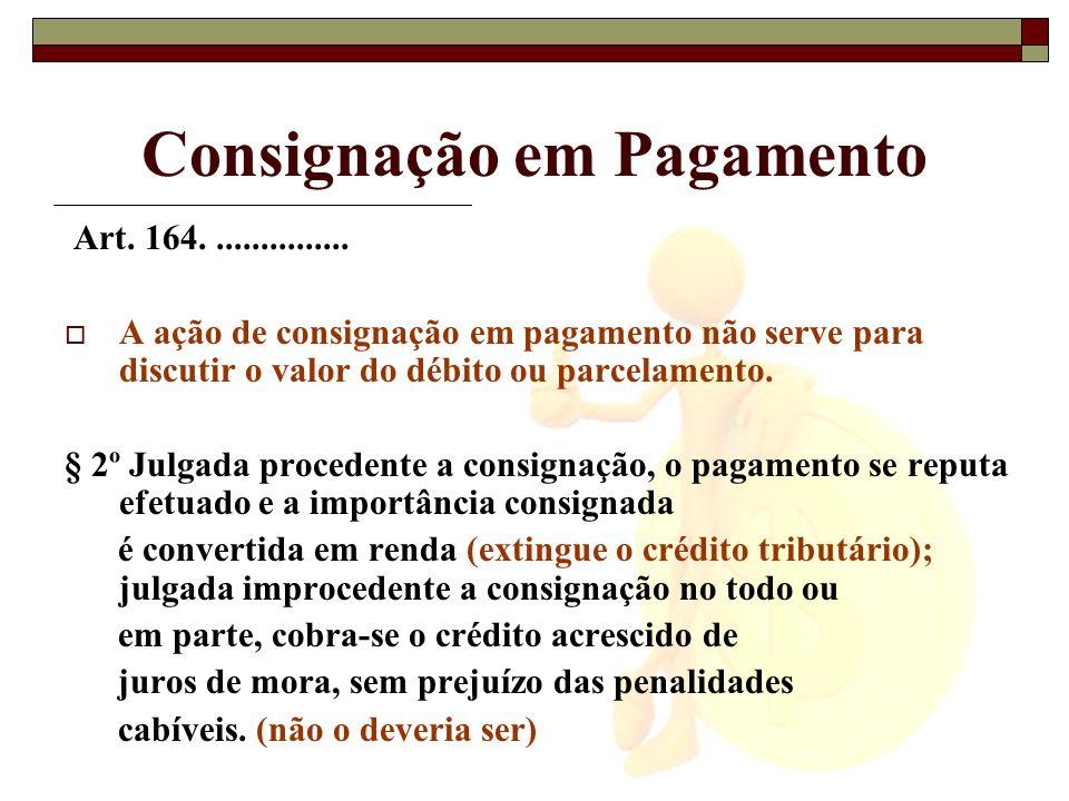 Consignação em Pagamento Art. 164................ A ação de consignação em pagamento não serve para discutir o valor do débito ou parcelamento. § 2º J