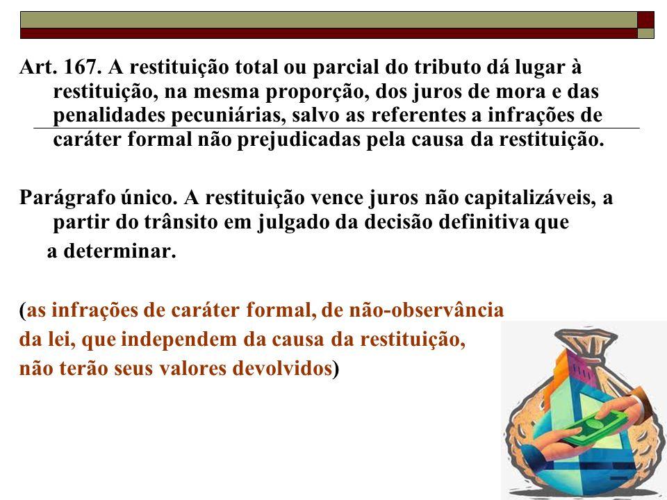 Art. 167. A restituição total ou parcial do tributo dá lugar à restituição, na mesma proporção, dos juros de mora e das penalidades pecuniárias, salvo