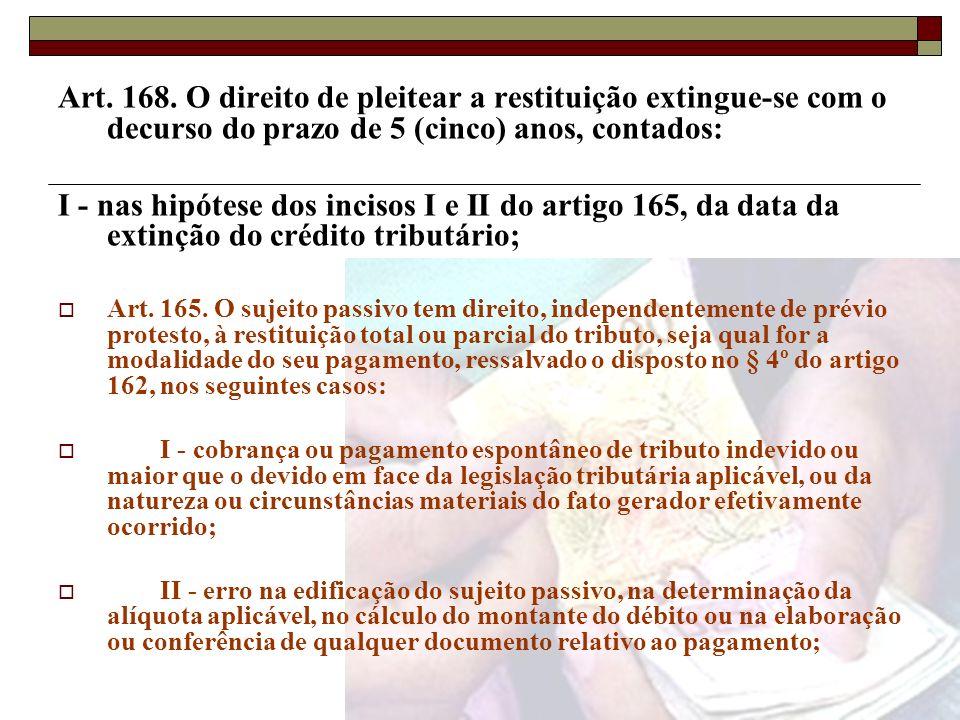 Art. 168. O direito de pleitear a restituição extingue-se com o decurso do prazo de 5 (cinco) anos, contados: I - nas hipótese dos incisos I e II do a