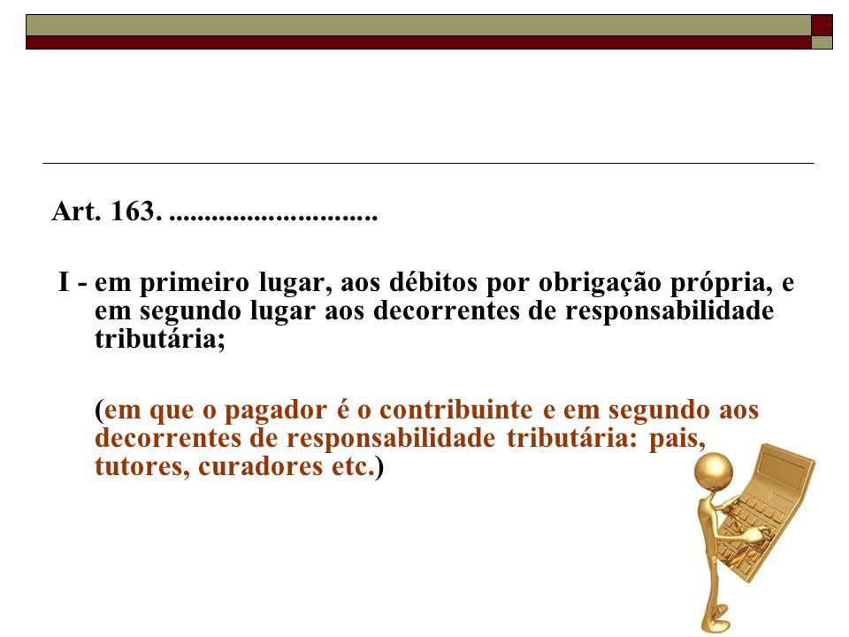 Art. 163.............................. I - em primeiro lugar, aos débitos por obrigação própria, e em segundo lugar aos decorrentes de responsabilidad