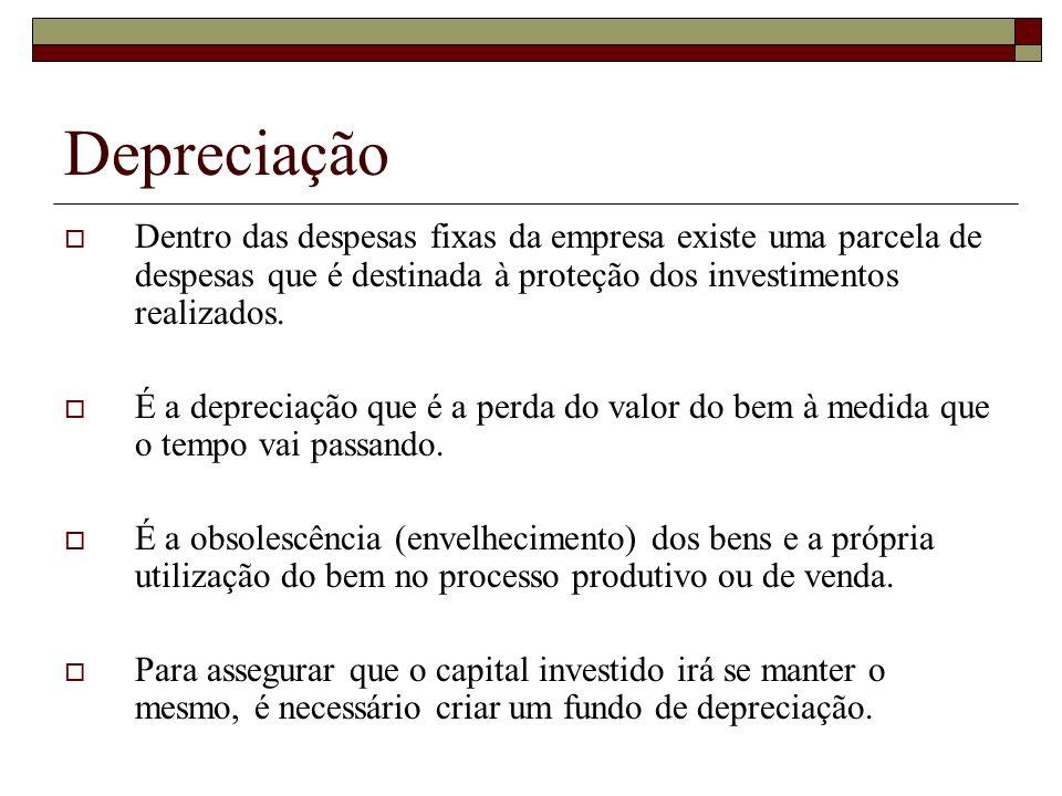 Depreciação Dentro das despesas fixas da empresa existe uma parcela de despesas que é destinada à proteção dos investimentos realizados. É a depreciaç