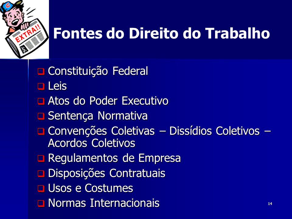 14 Fontes do Direito do Trabalho Constituição Federal Constituição Federal Leis Leis Atos do Poder Executivo Atos do Poder Executivo Sentença Normativ