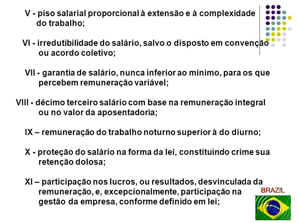 18 V - piso salarial proporcional à extensão e à complexidade do trabalho; VI - irredutibilidade do salário, salvo o disposto em convenção ou acordo c
