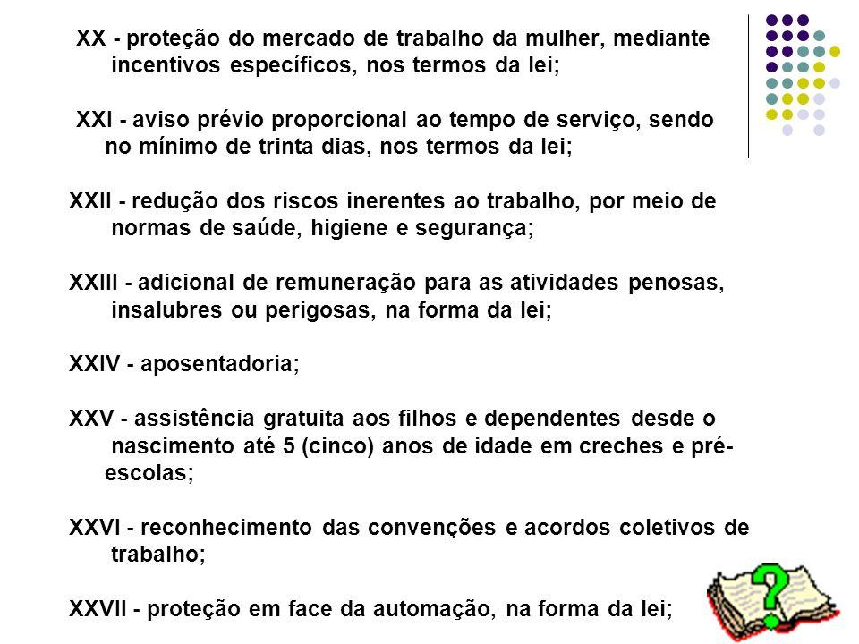 20 XX - proteção do mercado de trabalho da mulher, mediante incentivos específicos, nos termos da lei; XXI - aviso prévio proporcional ao tempo de ser