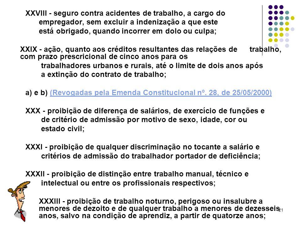 21 XXVIII - seguro contra acidentes de trabalho, a cargo do empregador, sem excluir a indenização a que este está obrigado, quando incorrer em dolo ou