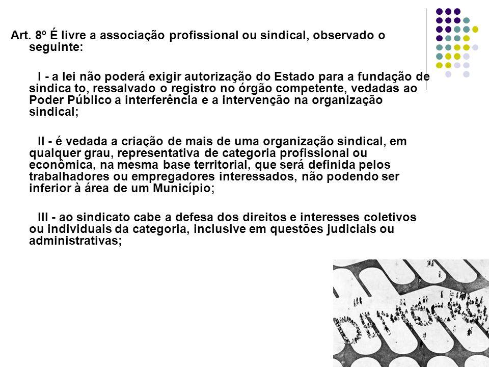 24 Art. 8º É livre a associação profissional ou sindical, observado o seguinte: I - a lei não poderá exigir autorização do Estado para a fundação de s