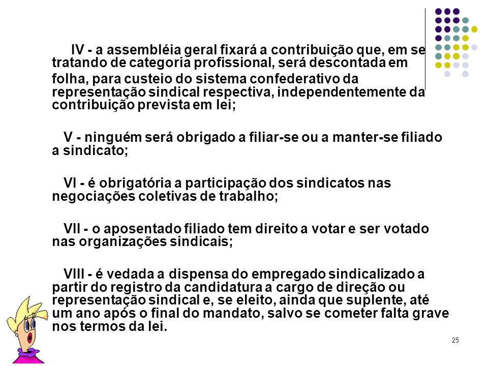 25 IV - a assembléia geral fixará a contribuição que, em se tratando de categoria profissional, será descontada em folha, para custeio do sistema conf