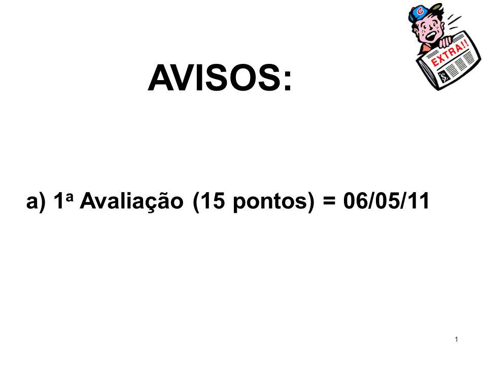 1 AVISOS: a) 1 a Avaliação (15 pontos) = 06/05/11