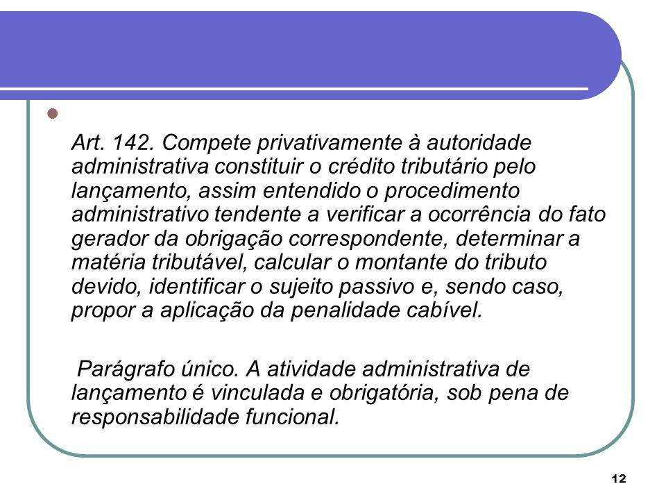 12 Art. 142. Compete privativamente à autoridade administrativa constituir o crédito tributário pelo lançamento, assim entendido o procedimento admini