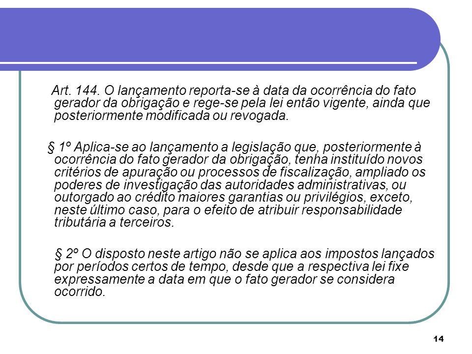 14 Art. 144. O lançamento reporta-se à data da ocorrência do fato gerador da obrigação e rege-se pela lei então vigente, ainda que posteriormente modi