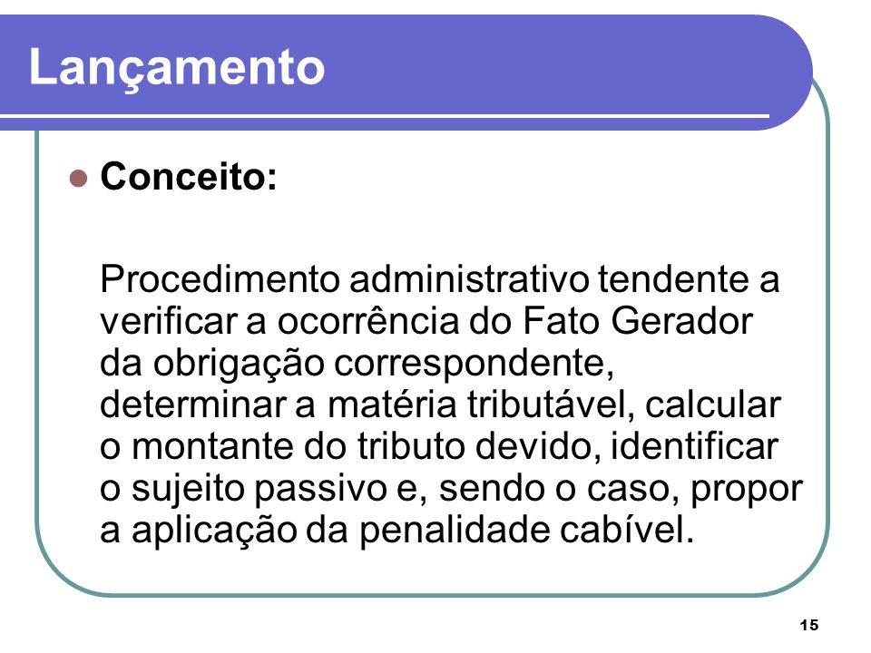 15 Lançamento Conceito: Procedimento administrativo tendente a verificar a ocorrência do Fato Gerador da obrigação correspondente, determinar a matéri