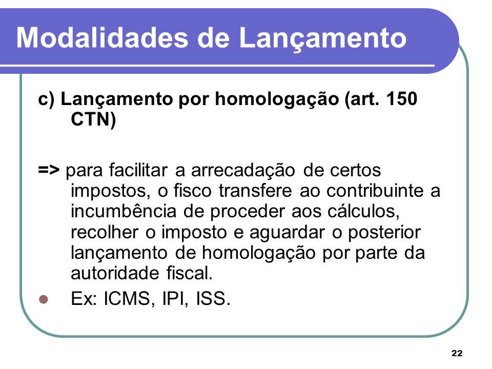 22 Modalidades de Lançamento c) Lançamento por homologação (art. 150 CTN) => para facilitar a arrecadação de certos impostos, o fisco transfere ao con