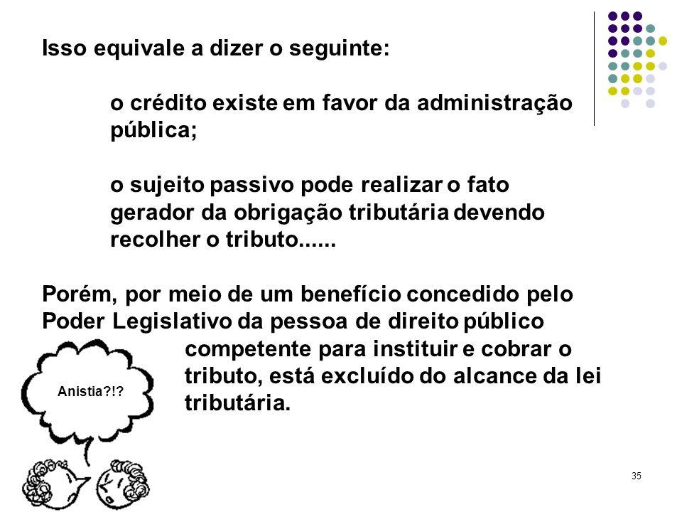 35 Isso equivale a dizer o seguinte: o crédito existe em favor da administração pública; o sujeito passivo pode realizar o fato gerador da obrigação t