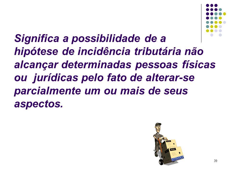 39 Significa a possibilidade de a hipótese de incidência tributária não alcançar determinadas pessoas físicas ou jurídicas pelo fato de alterar-se par