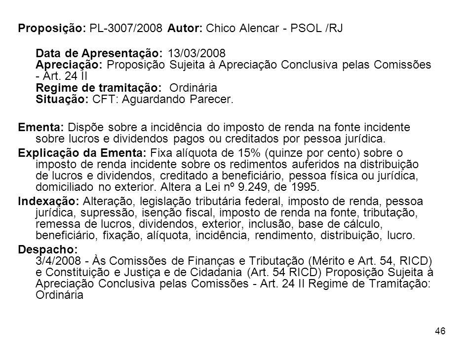 46 Proposição: PL-3007/2008 Autor: Chico Alencar - PSOL /RJ Data de Apresentação: 13/03/2008 Apreciação: Proposição Sujeita à Apreciação Conclusiva pe