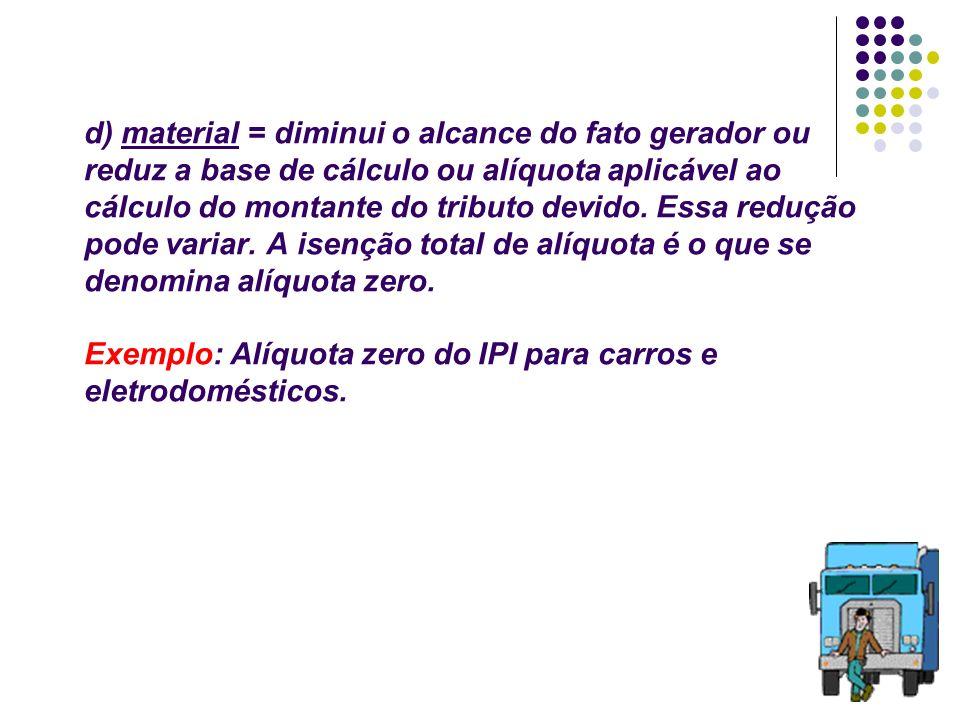 47 d) material = diminui o alcance do fato gerador ou reduz a base de cálculo ou alíquota aplicável ao cálculo do montante do tributo devido. Essa red