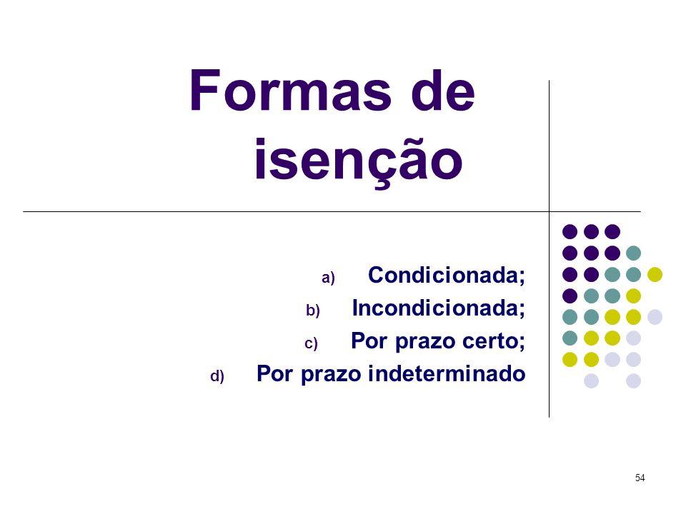 54 Formas de isenção a) Condicionada; b) Incondicionada; c) Por prazo certo; d) Por prazo indeterminado