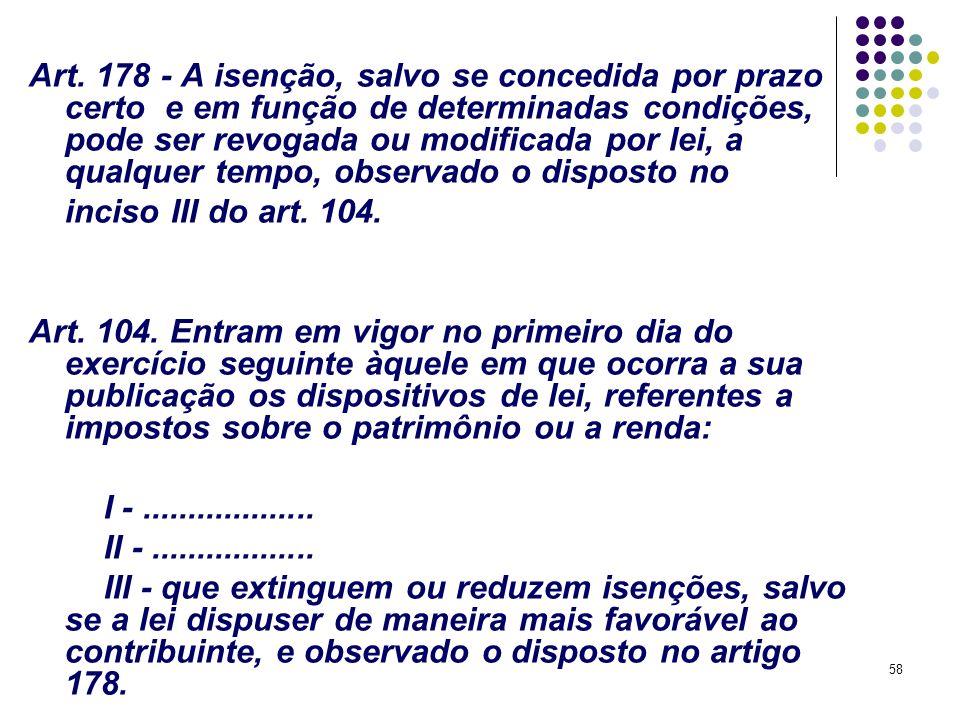58 Art. 178 - A isenção, salvo se concedida por prazo certo e em função de determinadas condições, pode ser revogada ou modificada por lei, a qualquer
