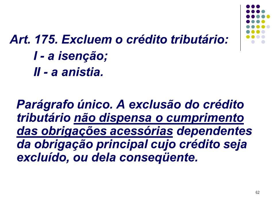 62 Art. 175. Excluem o crédito tributário: I - a isenção; II - a anistia. Parágrafo único. A exclusão do crédito tributário não dispensa o cumprimento