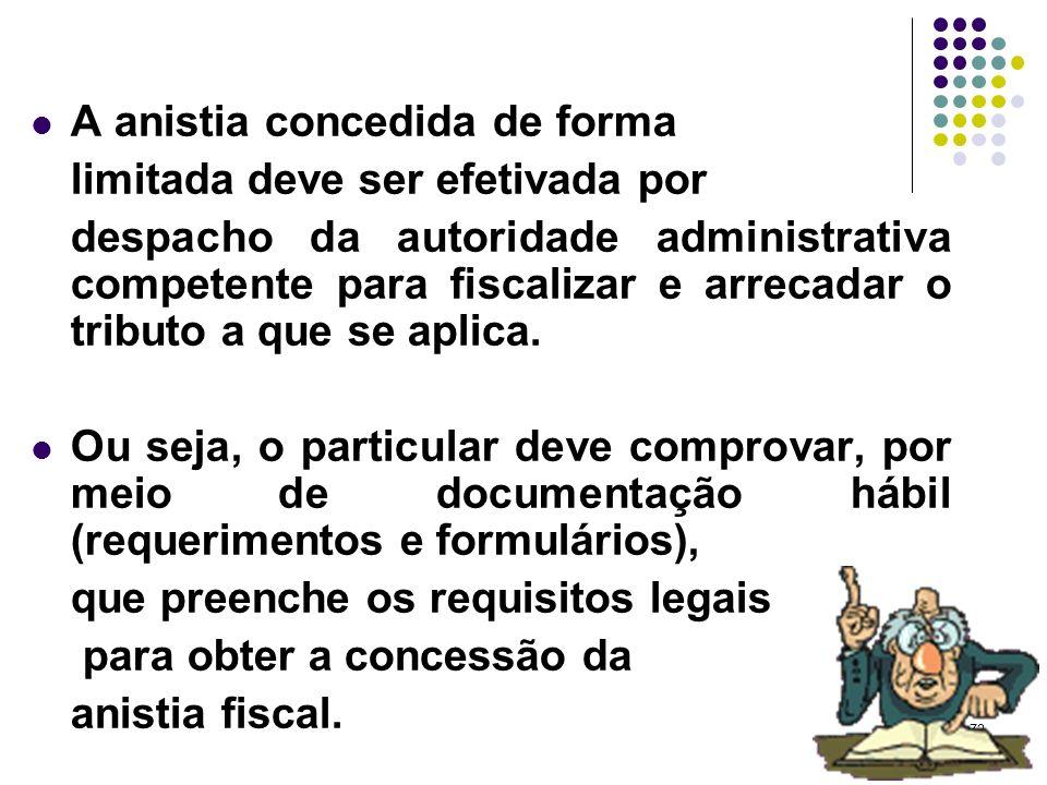72 A anistia concedida de forma limitada deve ser efetivada por despacho da autoridade administrativa competente para fiscalizar e arrecadar o tributo