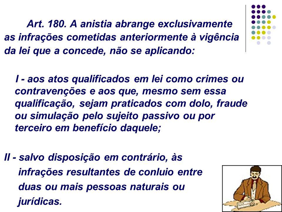 80 Art. 180. A anistia abrange exclusivamente as infrações cometidas anteriormente à vigência da lei que a concede, não se aplicando: I - aos atos qua