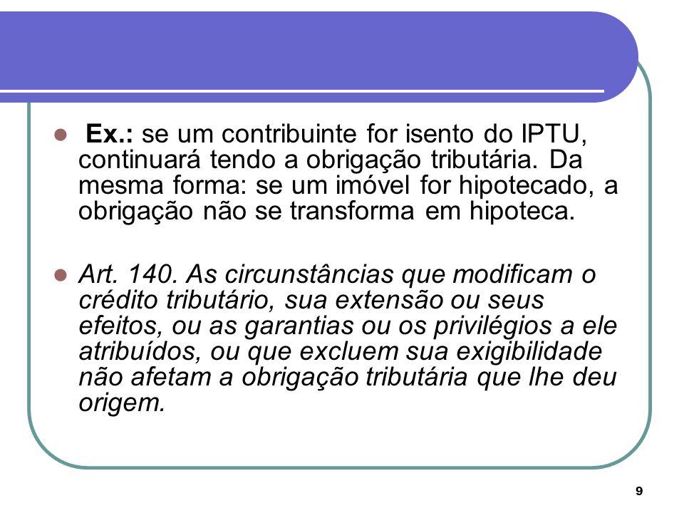 9 Ex.: se um contribuinte for isento do IPTU, continuará tendo a obrigação tributária. Da mesma forma: se um imóvel for hipotecado, a obrigação não se