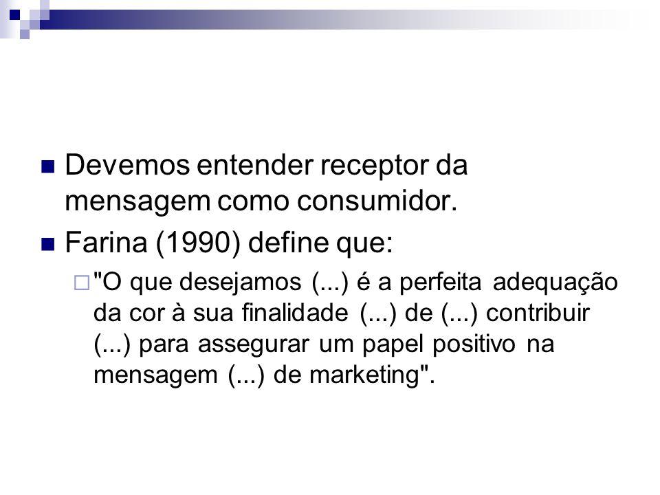 Devemos entender receptor da mensagem como consumidor. Farina (1990) define que: