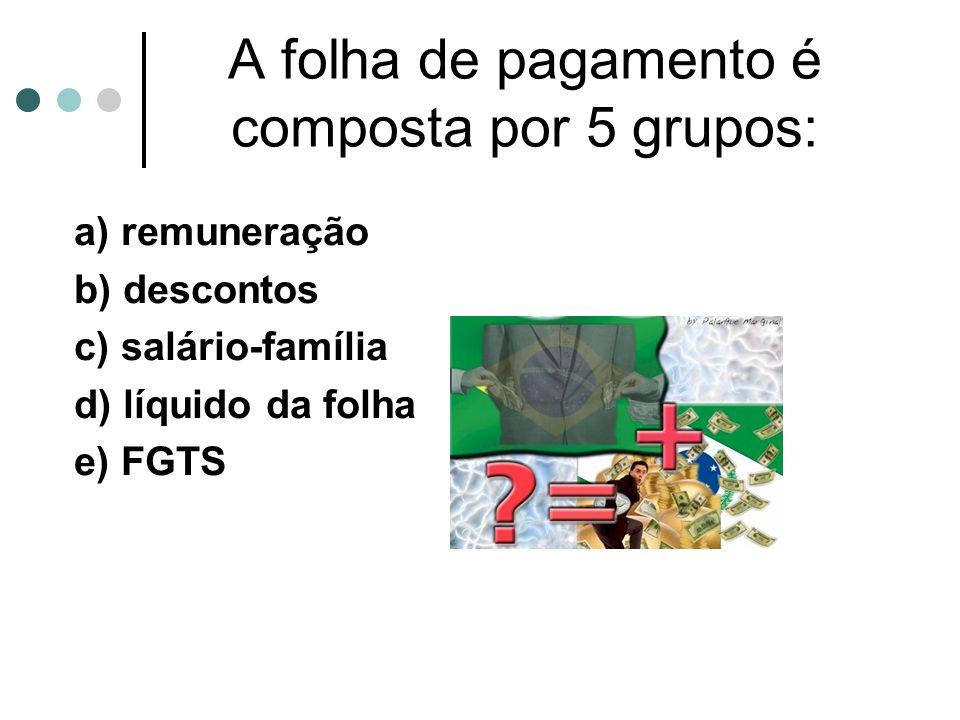 A folha de pagamento é composta por 5 grupos: a) remuneração b) descontos c) salário-família d) líquido da folha e) FGTS