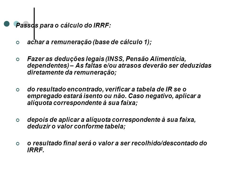 Passos para o cálculo do IRRF: achar a remuneração (base de cálculo 1); Fazer as deduções legais (INSS, Pensão Alimentícia, dependentes) – As faltas e