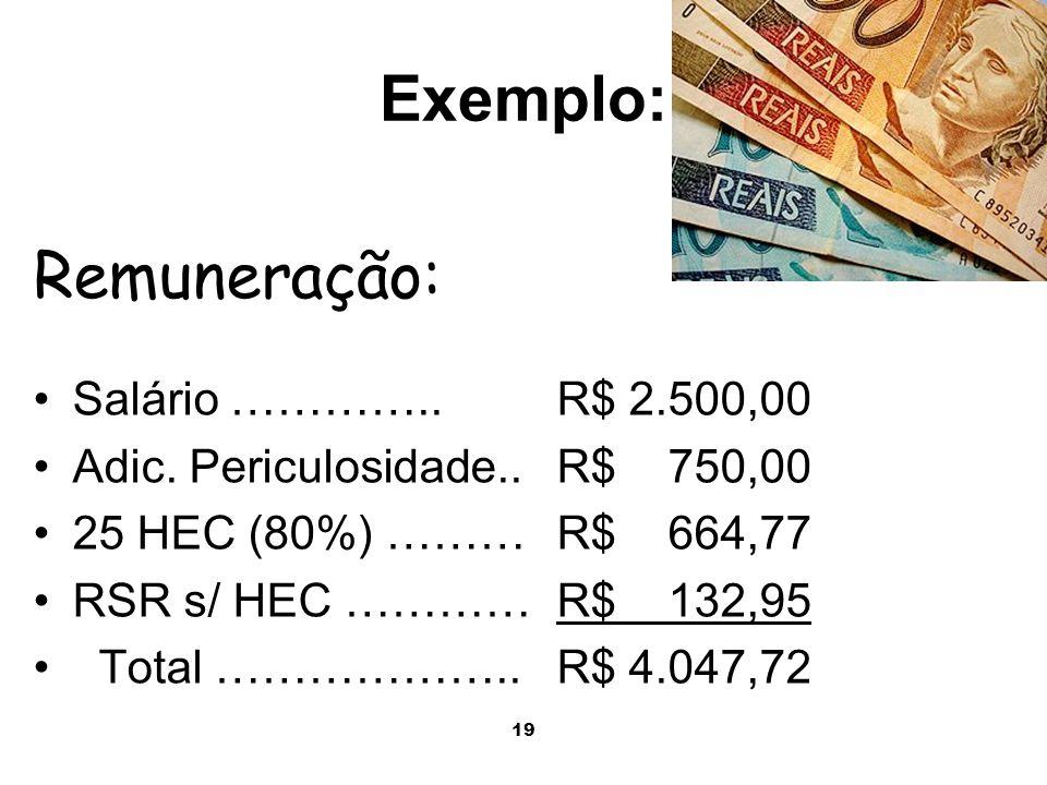 19 Exemplo: Salário …………..R$ 2.500,00 Adic. Periculosidade..R$ 750,00 25 HEC (80%) ………R$ 664,77 RSR s/ HEC …………R$ 132,95 Total ………………..R$ 4.047,72 Rem