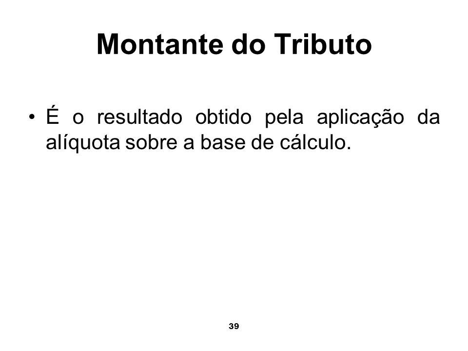 39 Montante do Tributo É o resultado obtido pela aplicação da alíquota sobre a base de cálculo.