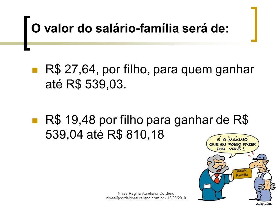 Nívea Regina Aureliano Cordeiro nivea@cordeiroeaureliano.com.br - 16/08/2010 Têm direito ao salário-família os trabalhadores empregados e os avulsos (junto ao sindicato ou órgão gestor de mão-de-obra).