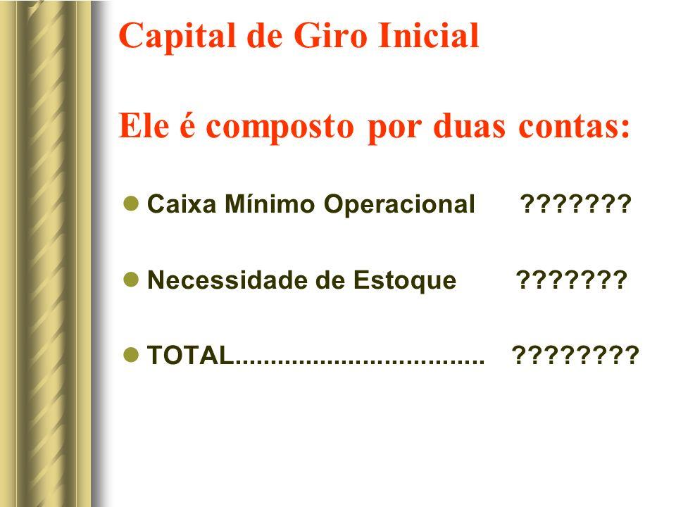 Capital de Giro Inicial Ele é composto por duas contas: Caixa Mínimo Operacional ??????? Necessidade de Estoque ??????? TOTAL.........................