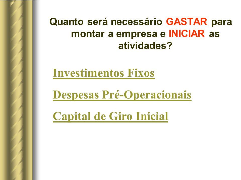 Quanto será necessário GASTAR para montar a empresa e INICIAR as atividades? Investimentos Fixos Despesas Pré-Operacionais Capital de Giro Inicial