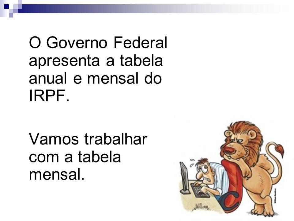 14 O Governo Federal apresenta a tabela anual e mensal do IRPF. Vamos trabalhar com a tabela mensal.