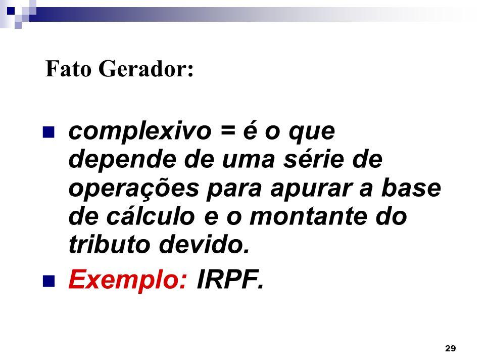29 complexivo = é o que depende de uma série de operações para apurar a base de cálculo e o montante do tributo devido. Exemplo: IRPF. Fato Gerador:
