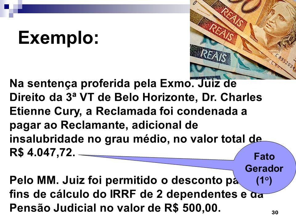30 Exemplo: Na sentença proferida pela Exmo. Juiz de Direito da 3ª VT de Belo Horizonte, Dr. Charles Etienne Cury, a Reclamada foi condenada a pagar a