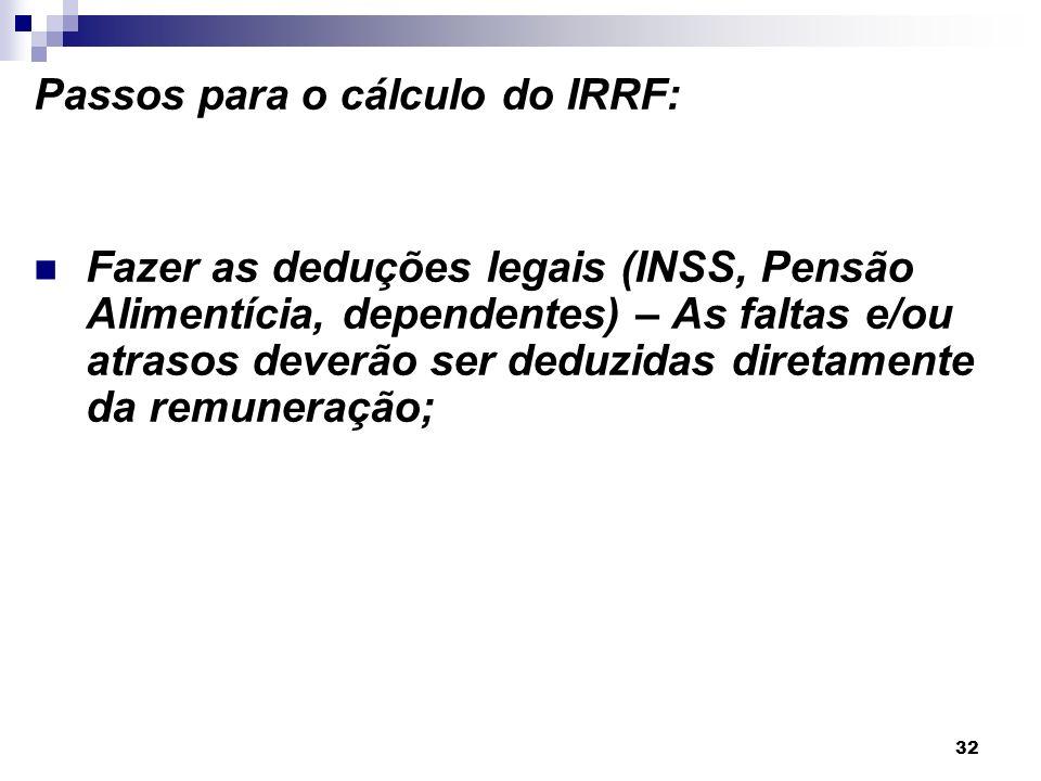 32 Passos para o cálculo do IRRF: Fazer as deduções legais (INSS, Pensão Alimentícia, dependentes) – As faltas e/ou atrasos deverão ser deduzidas dire