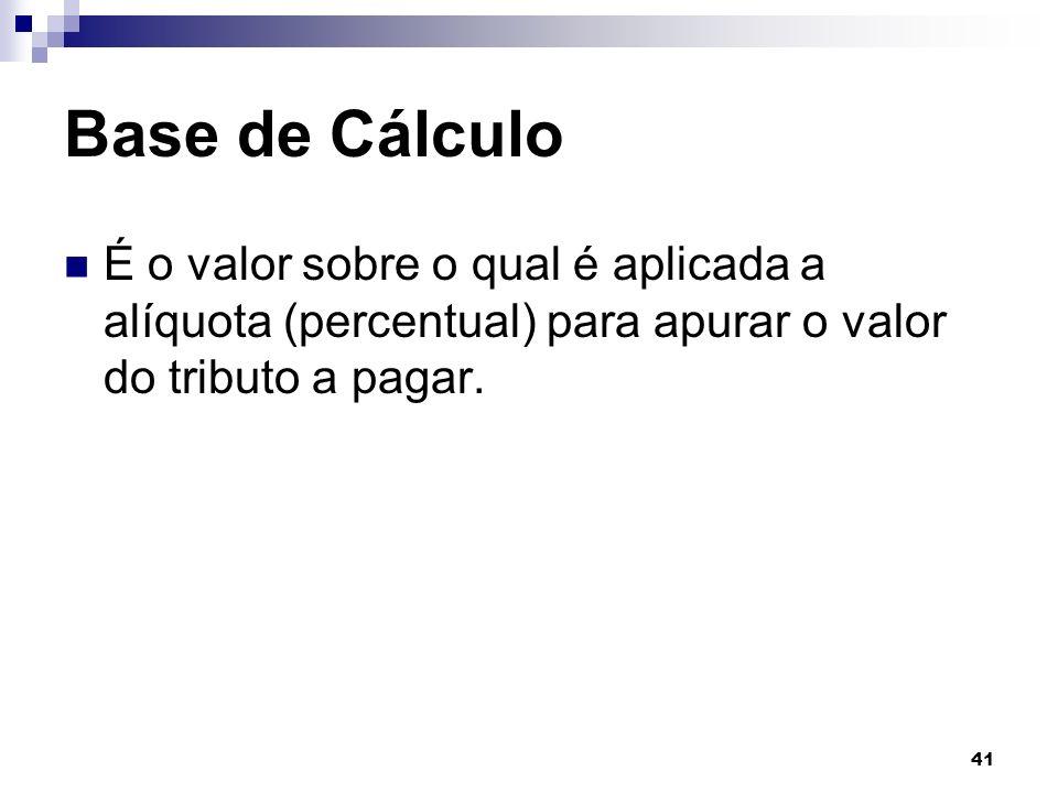 41 Base de Cálculo É o valor sobre o qual é aplicada a alíquota (percentual) para apurar o valor do tributo a pagar.