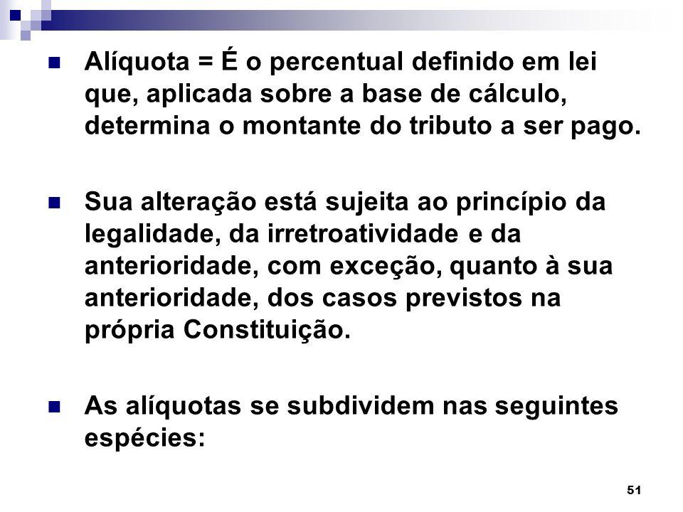 51 Alíquota Alíquota = É o percentual definido em lei que, aplicada sobre a base de cálculo, determina o montante do tributo a ser pago. Sua alteração