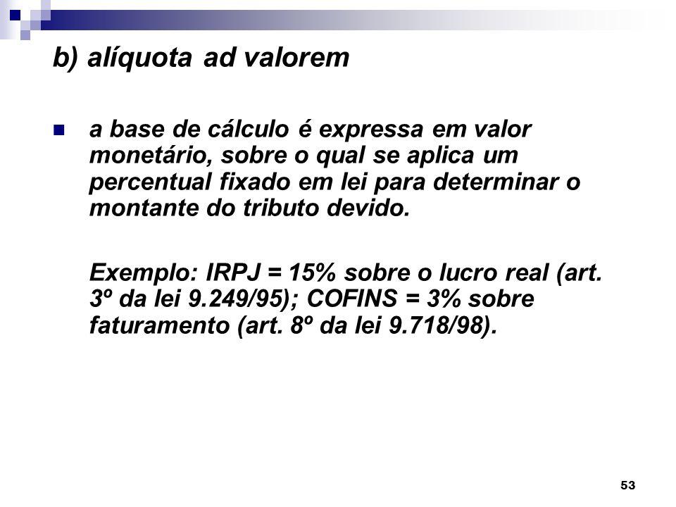 53 b) alíquota ad valorem a base de cálculo é expressa em valor monetário, sobre o qual se aplica um percentual fixado em lei para determinar o montan