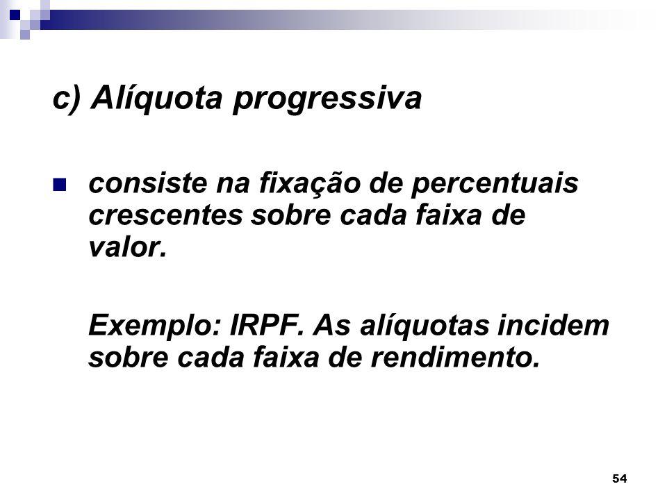 54 c) Alíquota progressiva consiste na fixação de percentuais crescentes sobre cada faixa de valor. Exemplo: IRPF. As alíquotas incidem sobre cada fai