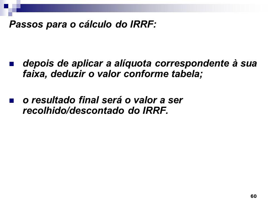 60 Passos para o cálculo do IRRF: depois de aplicar a alíquota correspondente à sua faixa, deduzir o valor conforme tabela; o resultado final será o v