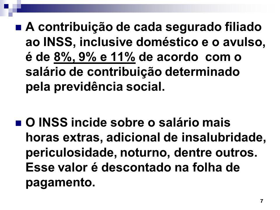 8 A contribuição de cada segurado filiado ao INSS, inclusive doméstico e o avulso, é de 8%, 9% e 11% de acordo com o salário de contribuição determinado pela previdência social.