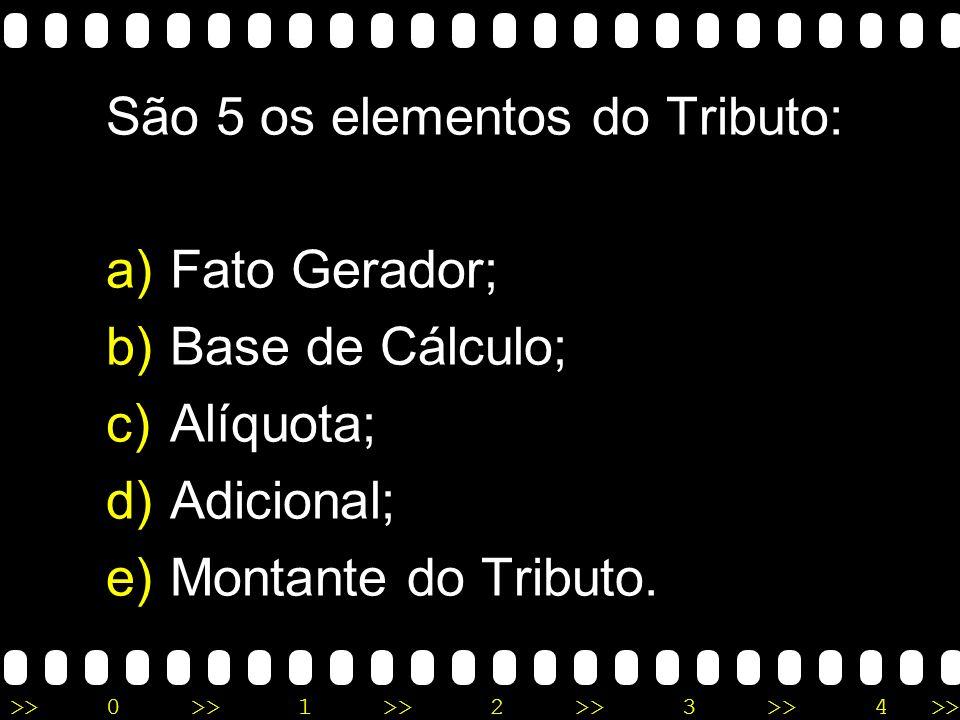 >>0 >>1 >> 2 >> 3 >> 4 >> São 5 os elementos do Tributo: a)Fato Gerador; b)Base de Cálculo; c)Alíquota; d)Adicional; e)Montante do Tributo.