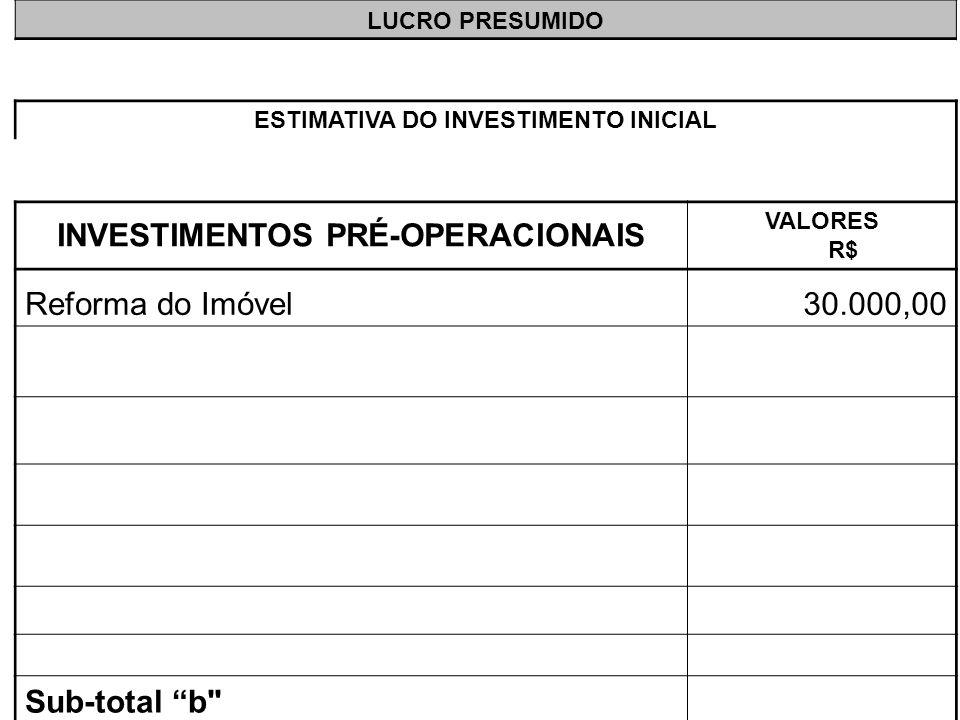 LUCRO PRESUMIDO ESTIMATIVA DO INVESTIMENTO INICIAL INVESTIMENTOS PRÉ-OPERACIONAIS VALORES R$ Reforma do Imóvel30.000,00 Sub-total b