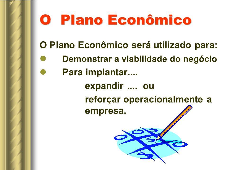 O Plano Econômico O Plano Econômico será utilizado para: Demonstrar a viabilidade do negócio Para implantar....