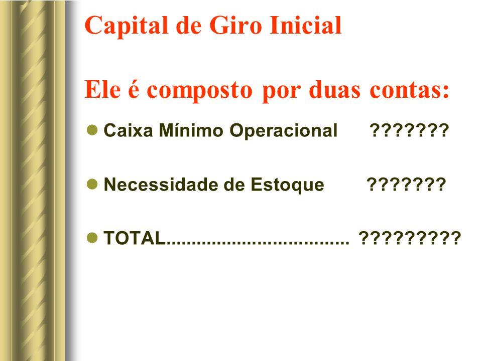 Capital de Giro Inicial Ele é composto por duas contas: Caixa Mínimo Operacional ??????.