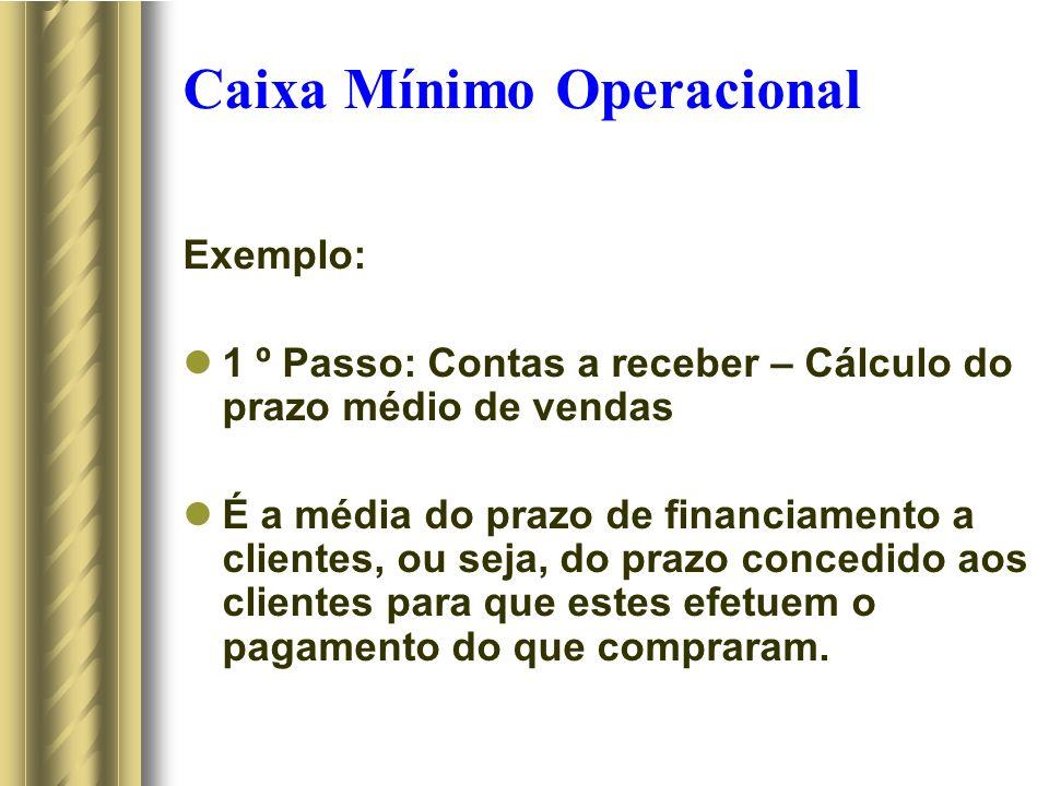 Caixa Mínimo Operacional Exemplo: 1 º Passo: Contas a receber – Cálculo do prazo médio de vendas É a média do prazo de financiamento a clientes, ou seja, do prazo concedido aos clientes para que estes efetuem o pagamento do que compraram.